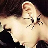 Halloween Jewelry (1 Pair Hot Fashion Womens Halloween Black Spider Charm Ear Stud Earrings Jewelry)