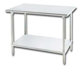Advance Tabco, Ss Flat Top Worktable - With Stainless Shelf And Legs, Hss-305, Size W X D X H: 30 X 60 X 35-1/2'', Wt. (Lbs.): 107, Ss-305