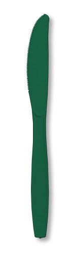 Creative Converting Touch of Color Premium 24 Count Plastic Knives, Hunter Green
