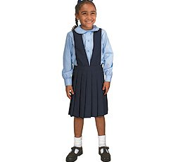 French Toast Girls' V-neck Pleated Jumper (Navy 07)