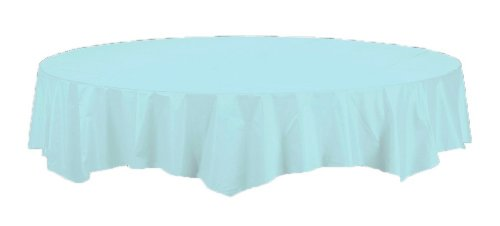 Touch of Color: Octy-Round 82 inch Plastic Lined Table Cover- Pastel Blue