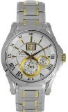Dial Premier White (Seiko SNP022P1 Men's Two Tone Stainless Steel Kinetic Premier Perpetual Calendar White Dial Watch)