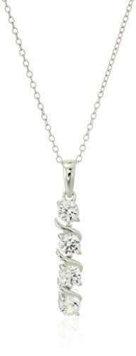 Sterling Silver Created White Sapphire Four Stone Pendant Necklace, 18""