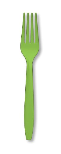 Kiwi Forks - Creative Converting 24 Count Touch of Color Heavy Duty Plastic Forks, Fresh Lime