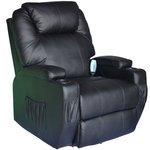 HomCom Heating Vibrating PU Leather Massage Recliner Chair - Black