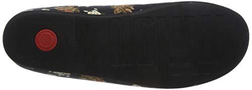 Donna Nero 001 Pantofole Floral Dark Fitflop Chrissie black 8WwIqvS8gx