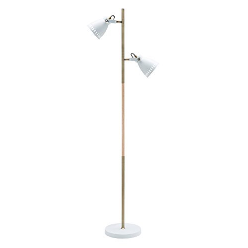 Light Society Tasman Floor Lamp, Sand Textured White with Antique Brass and Wood Finished Body, Mid Century Modern Industrial Style (LS-F203-WHI)