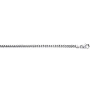 Or blanc 14 carats 3,4 mm Bracelet Gourmette-JewelryWeb - 18,4 cm