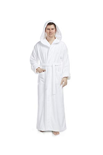 Arus Men's Hood'n Full Ankle Length Hooded Turkish Cotton Bathrobe White Large