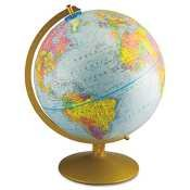 12-Inch Globe with Blue Oceans  Gold-Toned Metal Desktop