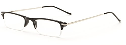 Readers.com The Bishop +1.25 Black Thin Colorful Semi-Rimless Metal Browline Reading - Glasses Browline Reading
