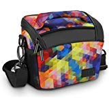 Bridge Camera Bag Geometric w/ Protective Neoprene Material , Rain Cover and Adjustable Dividers by USA Gear - Works W/ Nikon...