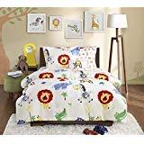 6 Piece Kids Zoo Twin Comforter Set, Jungle Themed Bedding for Children, Monkeys Lions Zebras Crocodile Elephant African Wild Cute Safari Animals ()