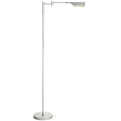 Brightech Leaf LED Reading and Task Floor Lamp- Dimmable 12.5 Watt LED Standing Pharmacy Lamp w/ Pivoting Head for Living Room Sewing Bedroom Office - Platinum Silver (Task Floor Lamp)