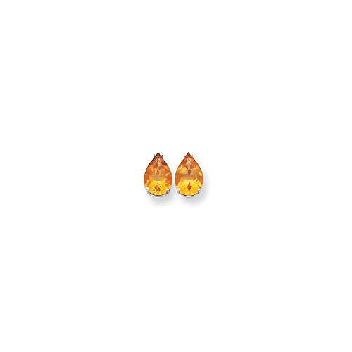 Best Designer Jewelry 14k White Gold 10x7mm Pear Citrine Earrings