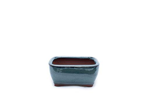 Bonsai Tree Pot 4 Inch Green Glazed Rectangle Shape (Green Rectangle Bonsai Pot)