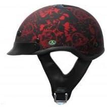 DOT Vented Matte Red Boneyard Motorcycle Half Helmet (Size L, LG, Large)