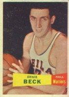 1957 Topps Regular (Basketball) Card# 36 ernie beck of the Philadelphia Warriors VG Condition
