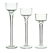 (P&R Bedding Long-stem Glass Tealight Candle Holders Set 3 Sizes Per Order clear)