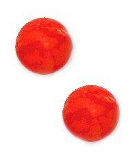 14k Yellow Gold Orange 7mm Round Created Simulated Coral Earrings (Round Orange Coral Earrings)