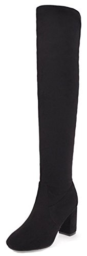 On Womens The High Slim Knee Black Dressy Boots Suede Simple Aisun Chunky Faux Heels Toe Over High Round Pull 6awdzZqxA