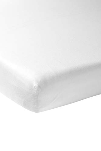 Meyco 566000 Jersey Spannbettlaken für Laufgittermatratze Spieldecke Boxmatratze 100% Baumwolle 75x95cm Weiss