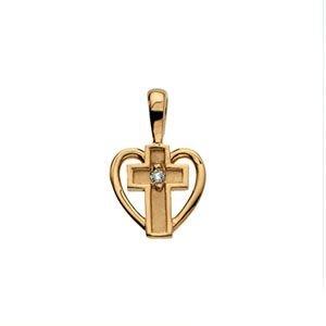 Coeur or jaune 14 Carats Pendentif Croix Diamant brut 21 x 21 mm-JewelryWeb