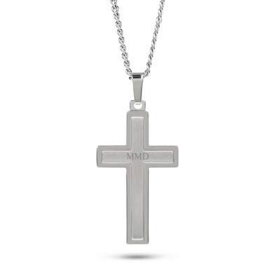 Things Remembered Personalized Brushed Silver and Satin Cross Necklace with Engraving Included (Brushed Cross Pendant)