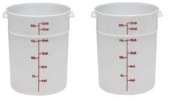 Cambro RFS22148 White Poly Round 22 Qt Storage Container (2-(Pack))