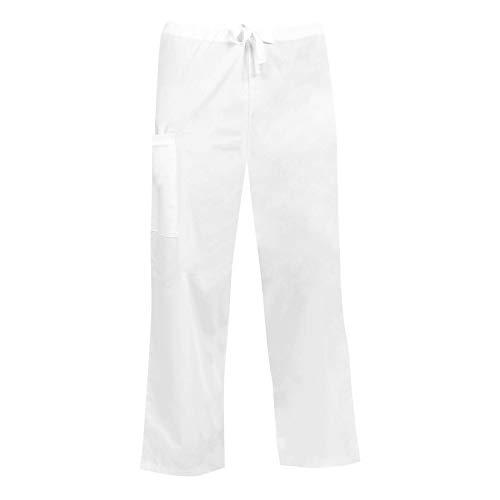- MAZEL UNIFORMS Classic Comfort FIT Unisex Scrub Pant with Drawstring,White,Medium