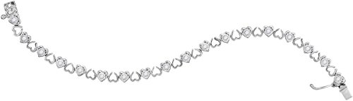 Sterling Silver Womens Round Diamond Heart Love Tennis Bracelet 1 Cttw by Unknown