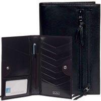 Leather Women's Wallet Id Coin Card Passport Travel Organizer Black by Alicia Klein