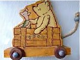 Pooh and Piglet Pull Toy, wooden by Charpente