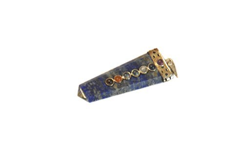 Crystal Garnet - Lapis Lazuli Flat Chakra Pendant 2 inch approx. A++ Top Grade Jet International Healing Spiritual Divine India Crystal Therapy