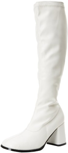 White Knee Boots (Funtasma Women's Gogo-300 Knee-High Boot,White,8 M US)