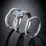 - KassarinShop Women 925 Silver Marquise Cut White Sapphire Luxury Wedding 3pc Ring Size 6-10 (6)