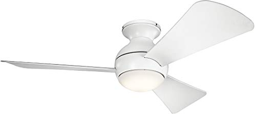 Kichler 330151MWH 44 Inch Sola Ceiling Fan LED, 3 Speed Wall Control Full Function, Matte White Finish with Matte White Blades