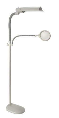 "OttLite W9437T-SHPR 18-watt Easy View, 62"" x 0"" x 10.5"", Dove Grey Floor Lamp"