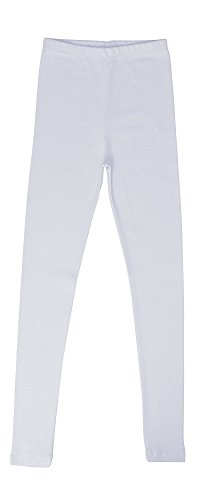 Price comparison product image CAOMP Girls'%100 Organic Cotton Leggings for School or Play (7-8, White)