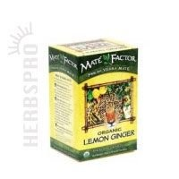 The Mate Factor Yerba Mate Energizing Herb Tea, Lemon Ginger, 20 Tea Bags (Pack of 3)