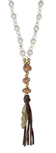 SPUNKYsoul Handmade Beaded Tassel Necklace with Natural and Man Made Stones, Leather, Feather, Beads for Women