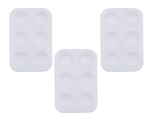(Floranea 3 Pcs Paint Tray Pallet with 6 Wells Plastic White Small Rectangular Painting Palette for Kids Artists Art Supplies Craft DIY Drawing Project School Classroom Children (White))