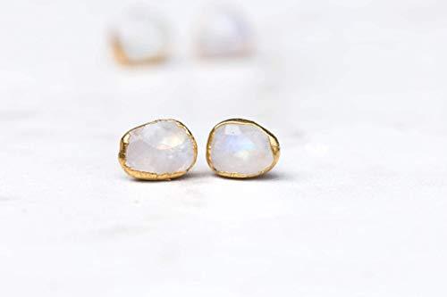 Rainbow Moonstone Earrings, Yellow Gold, Rose Cut