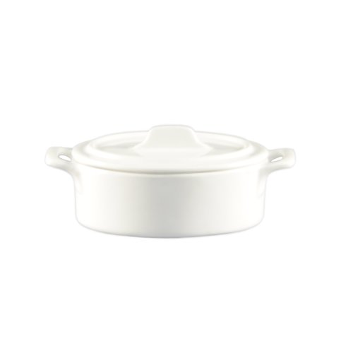 CAC China GMJ-3 2-Ounce Porcelain Oval Jar with Lid and 2 Handles, 3-1/4 by 2-7/8 by 1-3/4-Inch, Super White, Box of 48 by CAC China