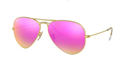 Ray Ban RB3025 112/4T 58M Matte Gold/ Green Mirror Fuxia Aviator (Pink Ray Ban Aviators)