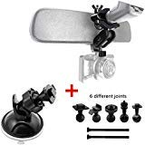 Dash Cam Mount Holder, Dash Camera Suction Cup Mirror Mount with 6 Different Joints Kit for Rexing V1/V1LG, YI, AUKEY, Z-Edge...