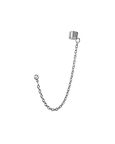 Clear Crystal Stud Slave Chain Ear Cuff Earring in Silver-tone Stainless Steel