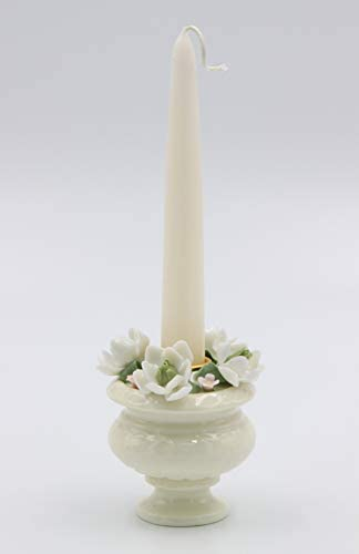 """Cosmos Gifts Fine Porcelain Magnolia Flowers Taper Candle Holder (Candle NOT Included), 3-1/2"""" H"""