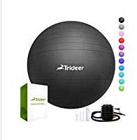 Trideer Exercise Ball (45-85cm) Extra Thick Yoga Ball Chair, Anti-Burst Heavy Duty Stability Ball Supports 2200lbs, Birthing Ball with Quick Pump (Office & Home & - Equipment Support Medical