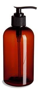 Amber Boston Round Plastic Bottle with Black Lotion Dispenser, 8 Oz. Pack of 2 (Plastic Soap Dispenser)